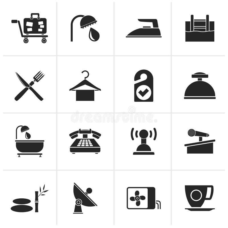 Iconos negros del hotel y del motel libre illustration