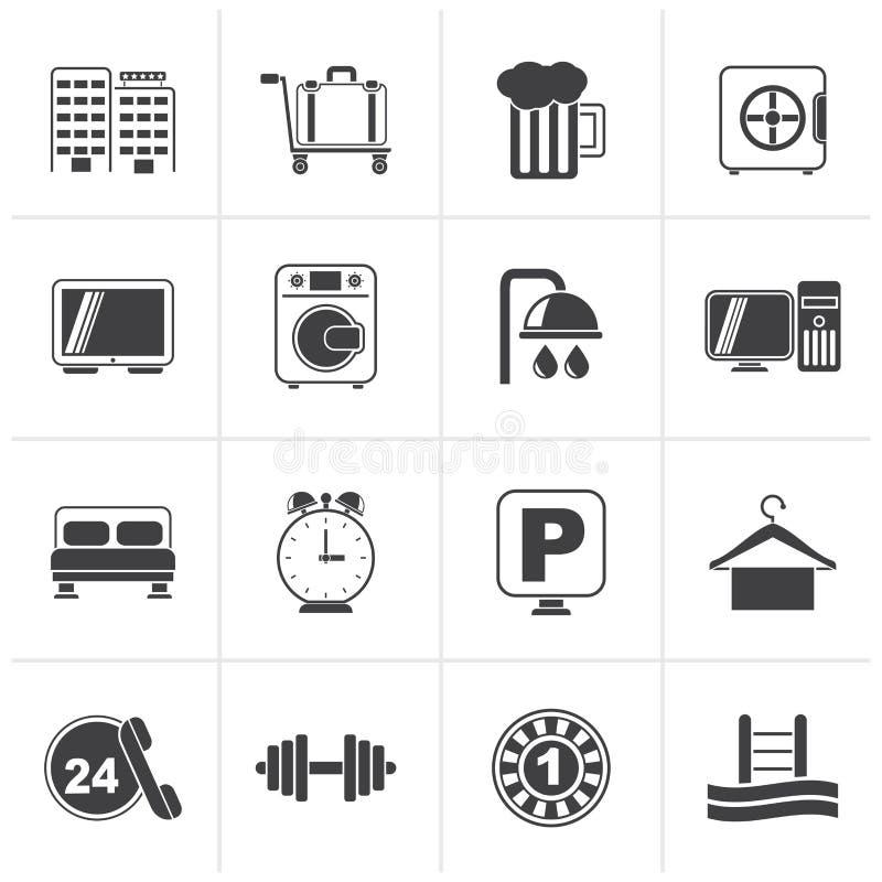 Iconos negros del hotel y del motel ilustración del vector