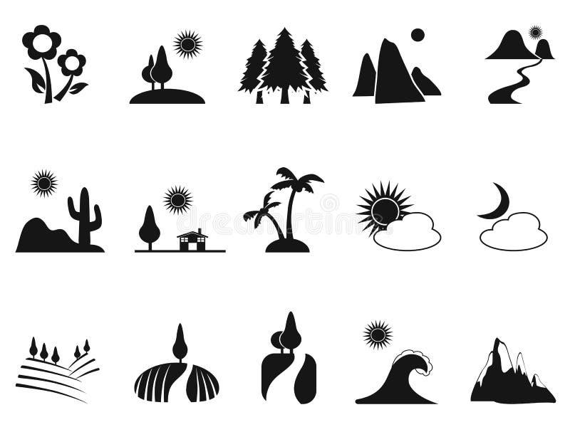 Iconos negros del paisaje fijados stock de ilustración