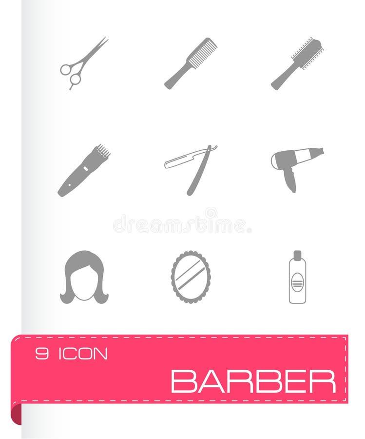 Iconos negros del peluquero del vector fijados libre illustration