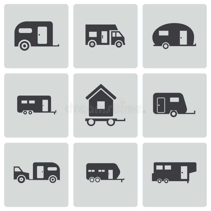 Iconos negros del remolque del vector fijados stock de ilustración