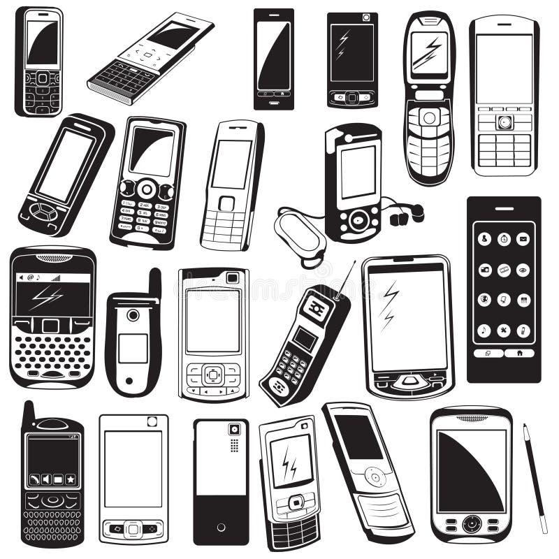 iconos negros del teléfono móvil libre illustration