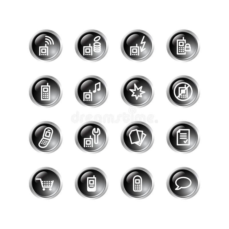 Iconos negros del teléfono móvil de la gota ilustración del vector