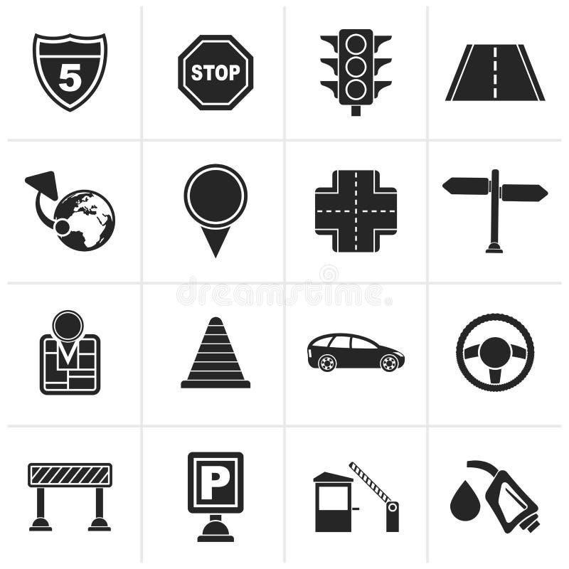 Iconos negros del tráfico, del camino y del viaje stock de ilustración