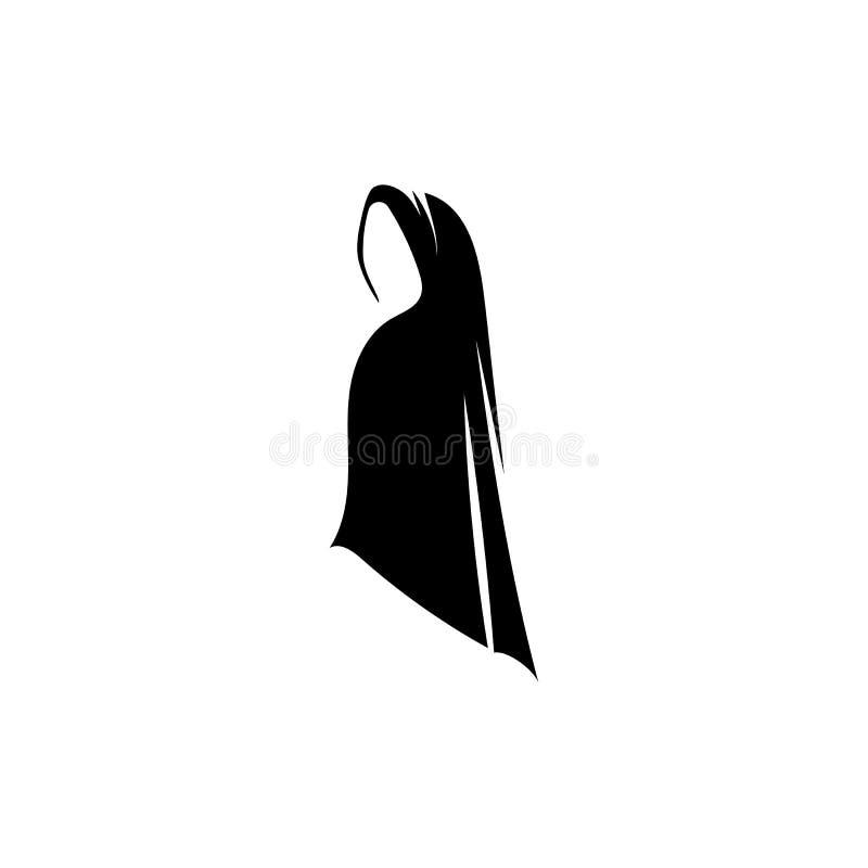 Iconos negros del vector de la silueta de las mujeres de Hijab stock de ilustración