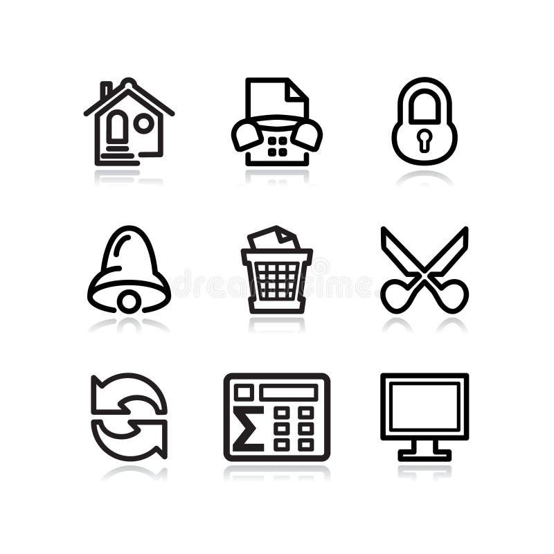 Iconos negros del Web del contorno, conjunto 7 stock de ilustración