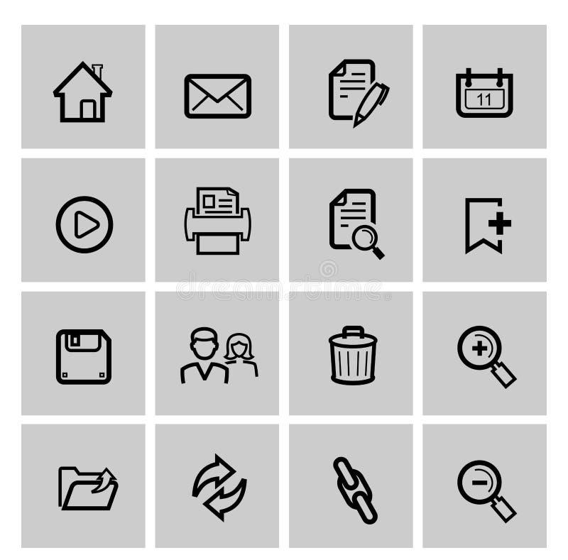 Iconos negros del web del vector fijados en gris stock de ilustración