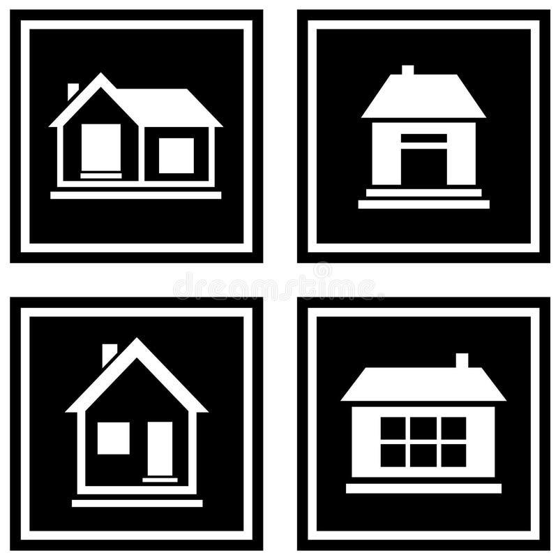 Iconos negros determinados de la casa ilustración del vector