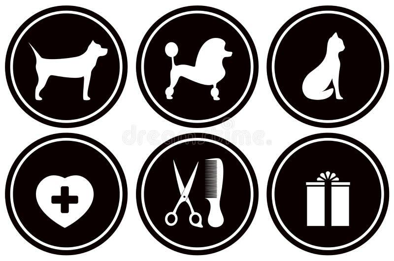 Iconos negros determinados para los objetos del animal doméstico ilustración del vector