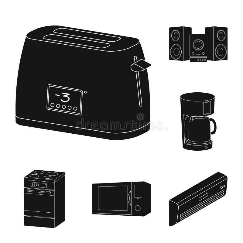 Iconos negros elegantes de los aparatos electrodomésticos en la colección del sistema para el diseño Web moderno de la acción del libre illustration