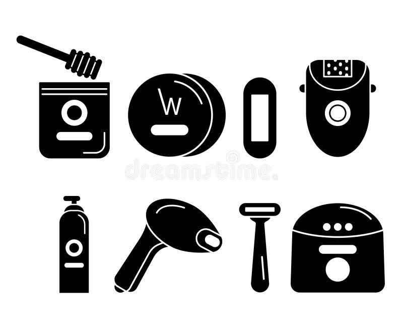 Iconos negros fijados en retiro del pelo ilustración del vector