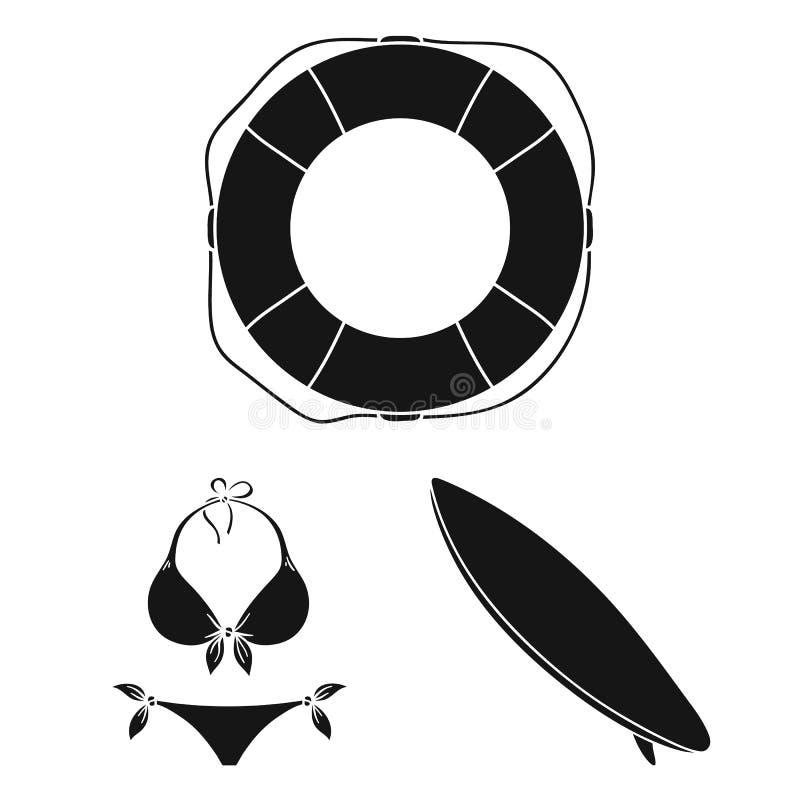 Iconos negros que practican surf y extremos en la colección del sistema para el diseño Web de la acción del símbolo del vector de stock de ilustración