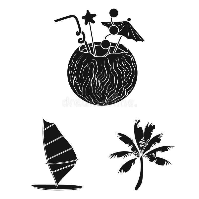 Iconos negros que practican surf y extremos en la colección del sistema para el diseño Web de la acción del símbolo del vector de libre illustration