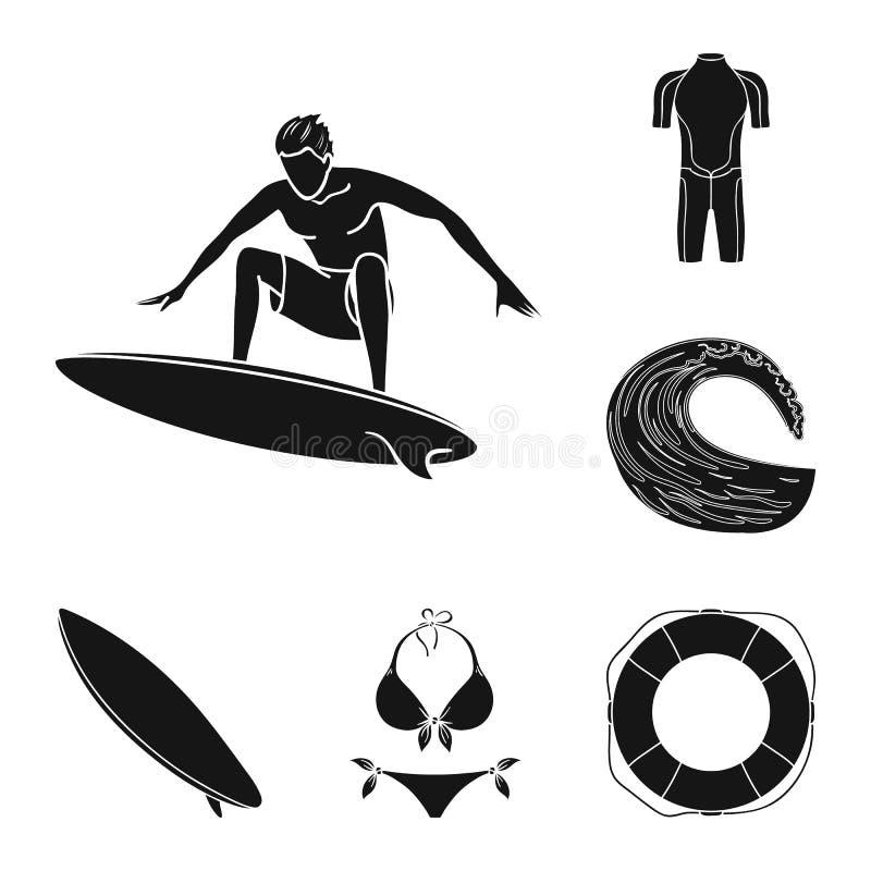 Iconos negros que practican surf y extremos en la colección del sistema para el diseño Web de la acción del símbolo del vector de ilustración del vector