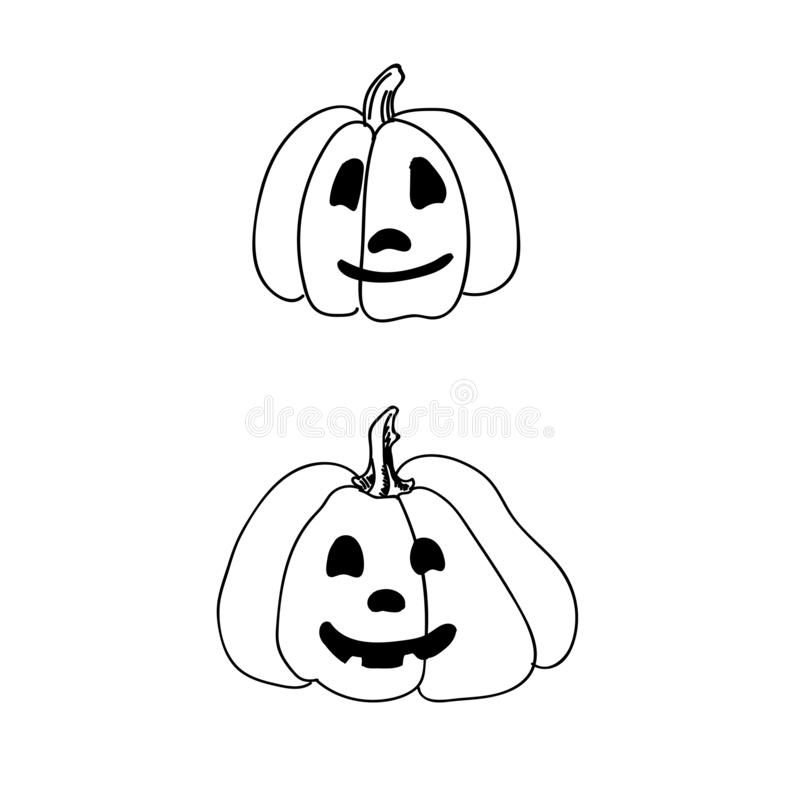 Iconos o elementos asustadizos exhaustos de Halloween de la mano ilustración del vector