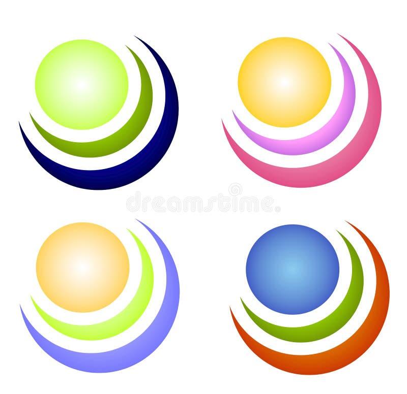 Iconos o insignias coloridos del círculo ilustración del vector