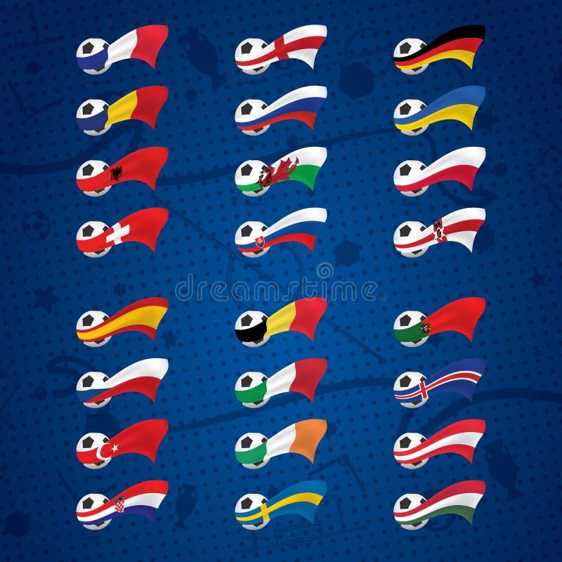 Iconos o insignias con las bolas y las banderas de países europeos ilustración del vector