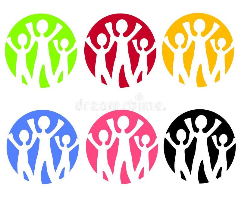 Iconos o insignias del Web de la familia stock de ilustración