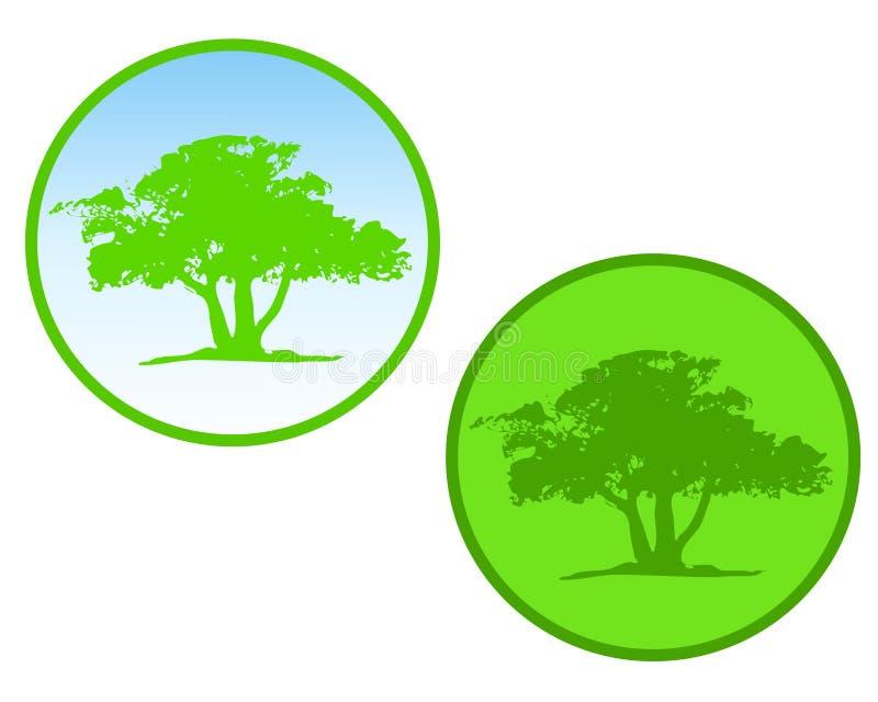 Iconos o insignias verdes del círculo del árbol stock de ilustración