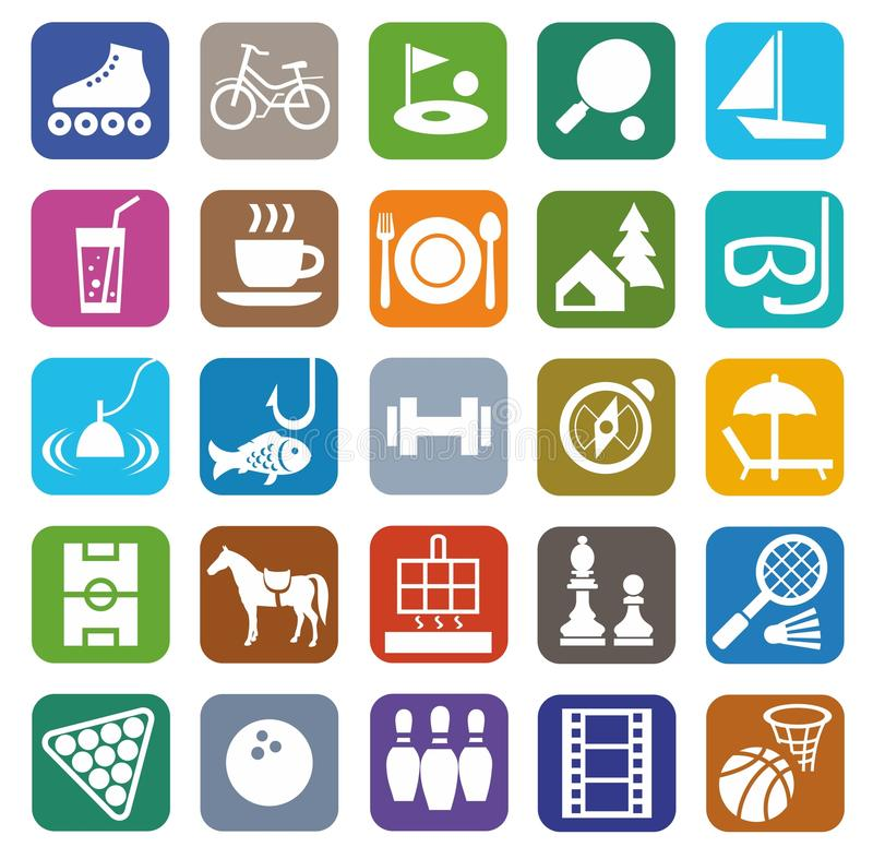 Iconos, ocio, entretenimiento, turismo, color, plano libre illustration