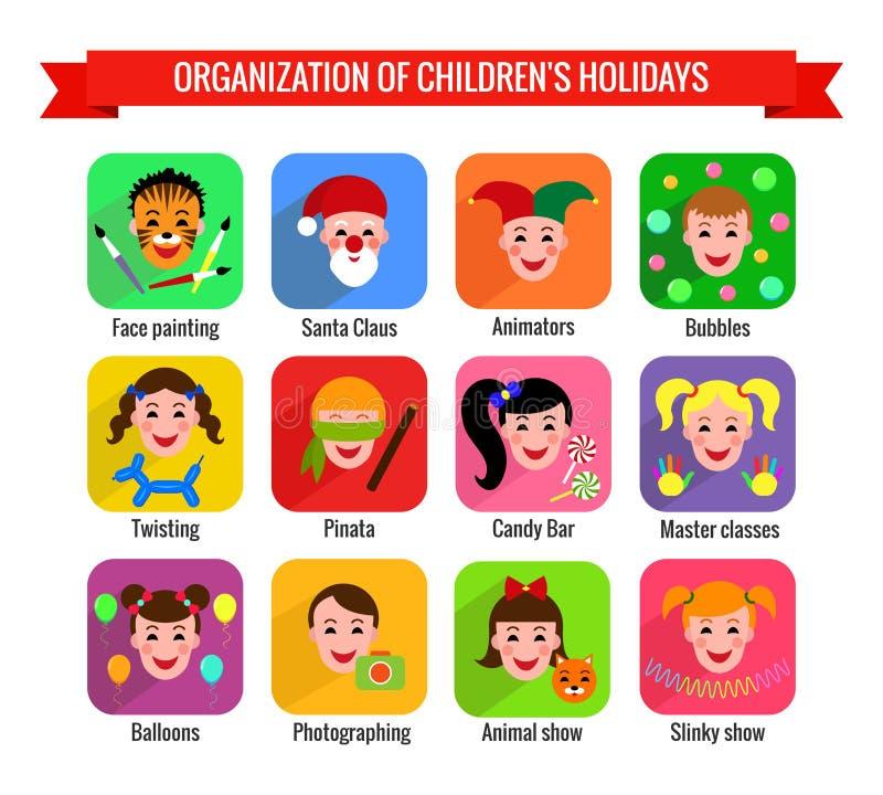 Iconos olorful del ¡de Ð con los niños stock de ilustración