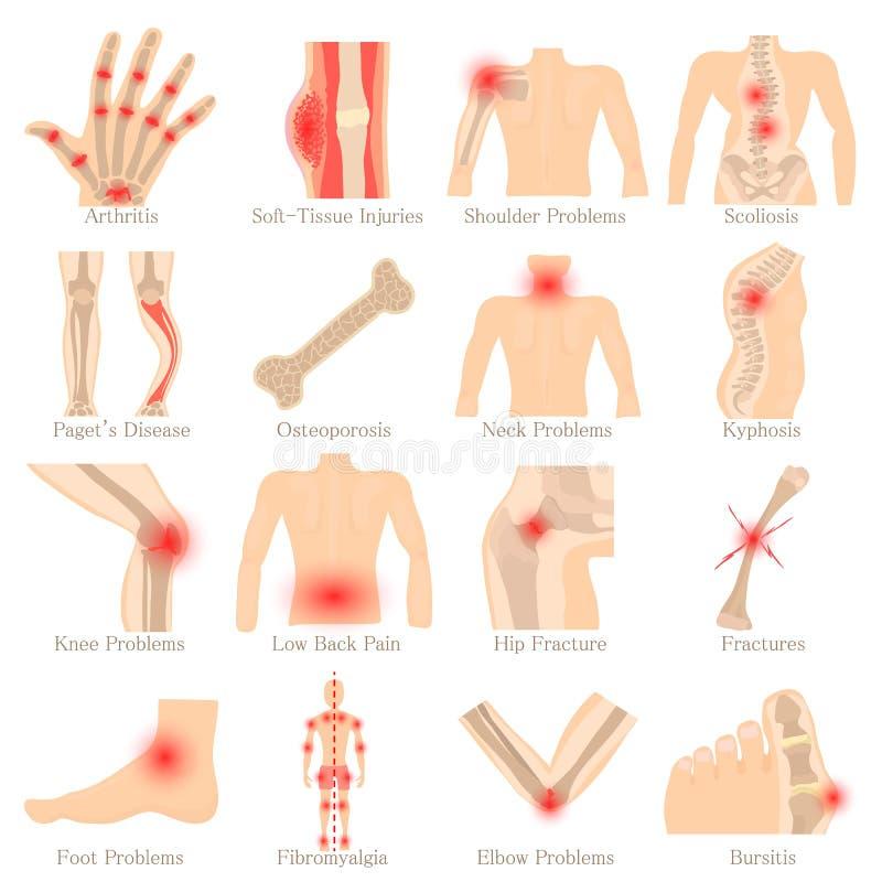 Iconos ortopédicos fijados, estilo de las enfermedades de la historieta libre illustration