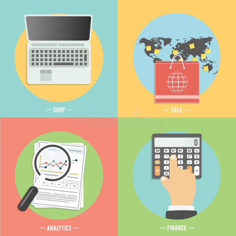 Iconos para el comercio electrónico, entrega, en línea shopoing libre illustration