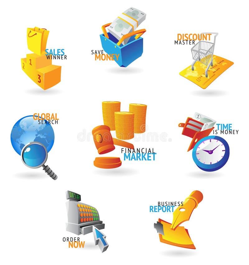 Iconos para el comercio y la venta al por menor libre illustration