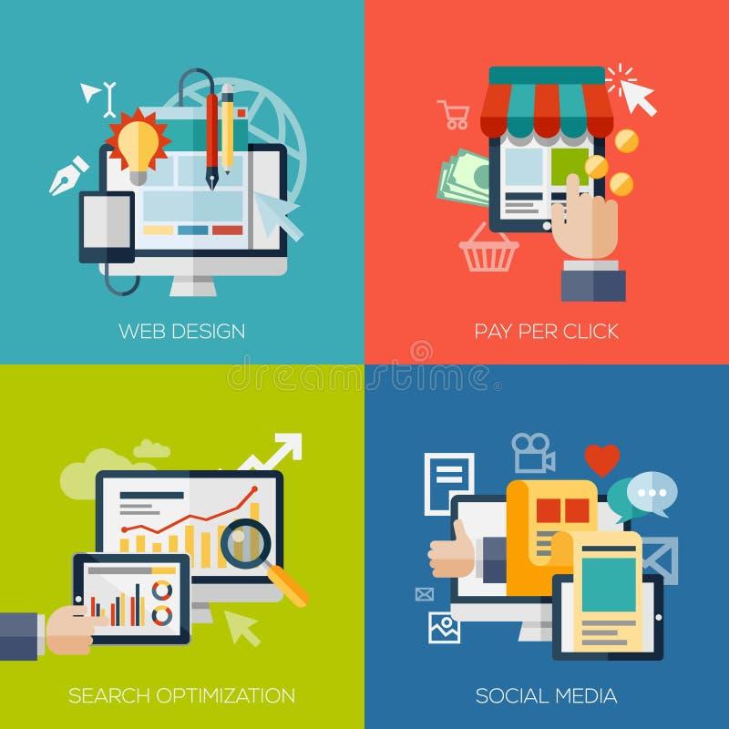 Iconos para el diseño web, el seo, los medios sociales y la paga stock de ilustración