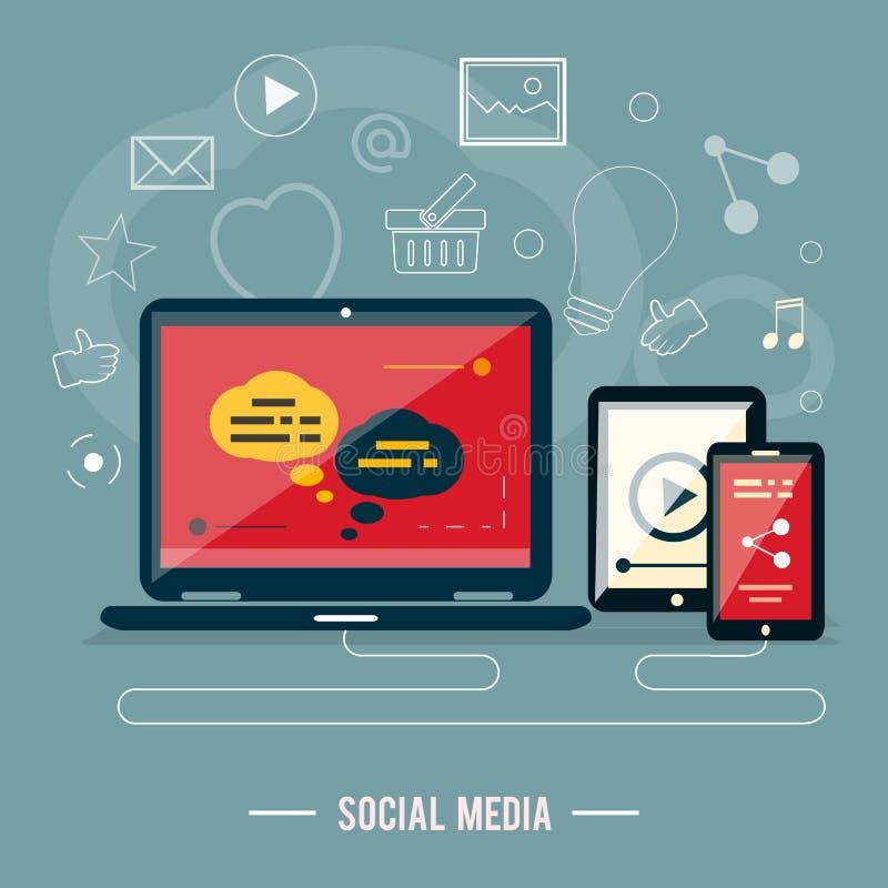 Iconos para el diseño web, seo, medio social stock de ilustración
