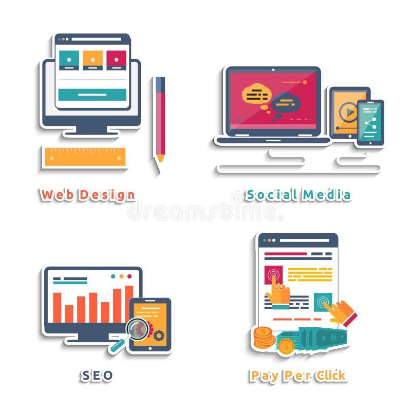 Iconos para el diseño web, seo, medio social ilustración del vector