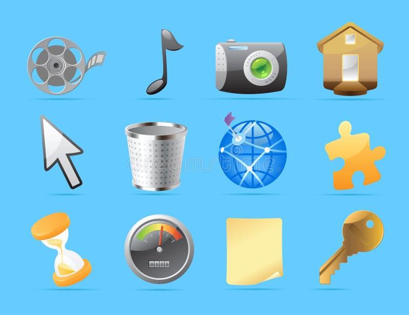 Iconos para el interfaz stock de ilustración