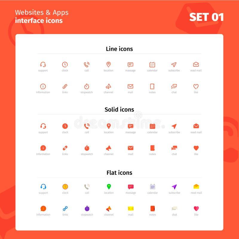 Iconos para el interfaz del sitio web y del uso stock de ilustración