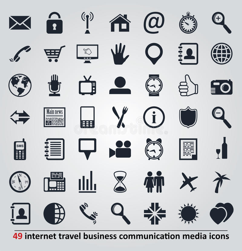 Iconos para Internet, el viaje, la comunicación y los medios libre illustration