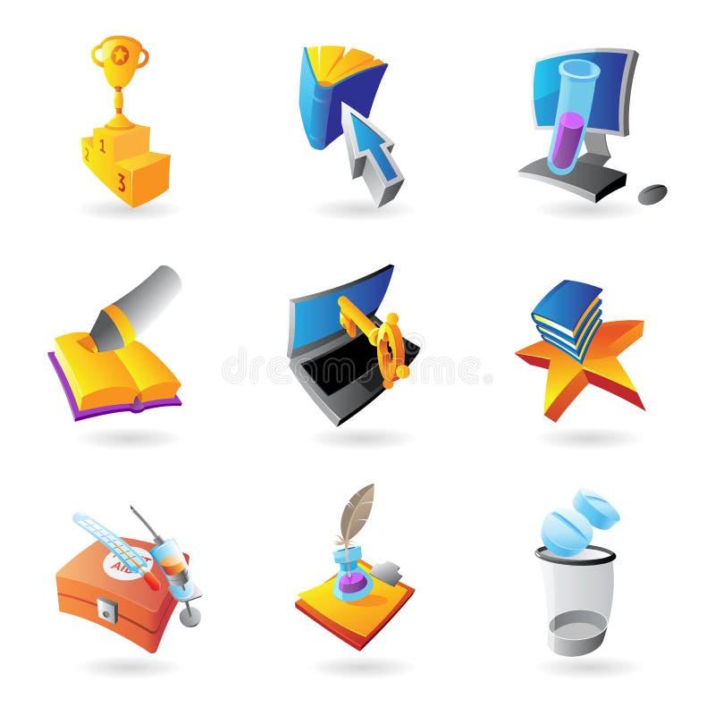 Iconos para la ciencia y la educación ilustración del vector