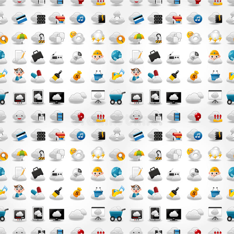 Iconos para la red de la nube, modelo inconsútil stock de ilustración