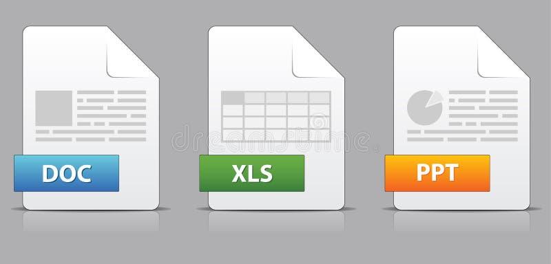 Iconos para las extensiones de fichero de la oficina ilustración del vector