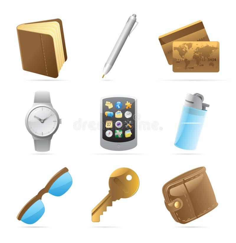 Iconos para las pertenencia personales ilustración del vector