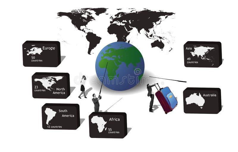 Iconos para los continentes del viaje stock de ilustración