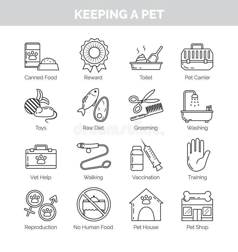 Iconos para los diversos aspectos de guardar animales domésticos en casa libre illustration