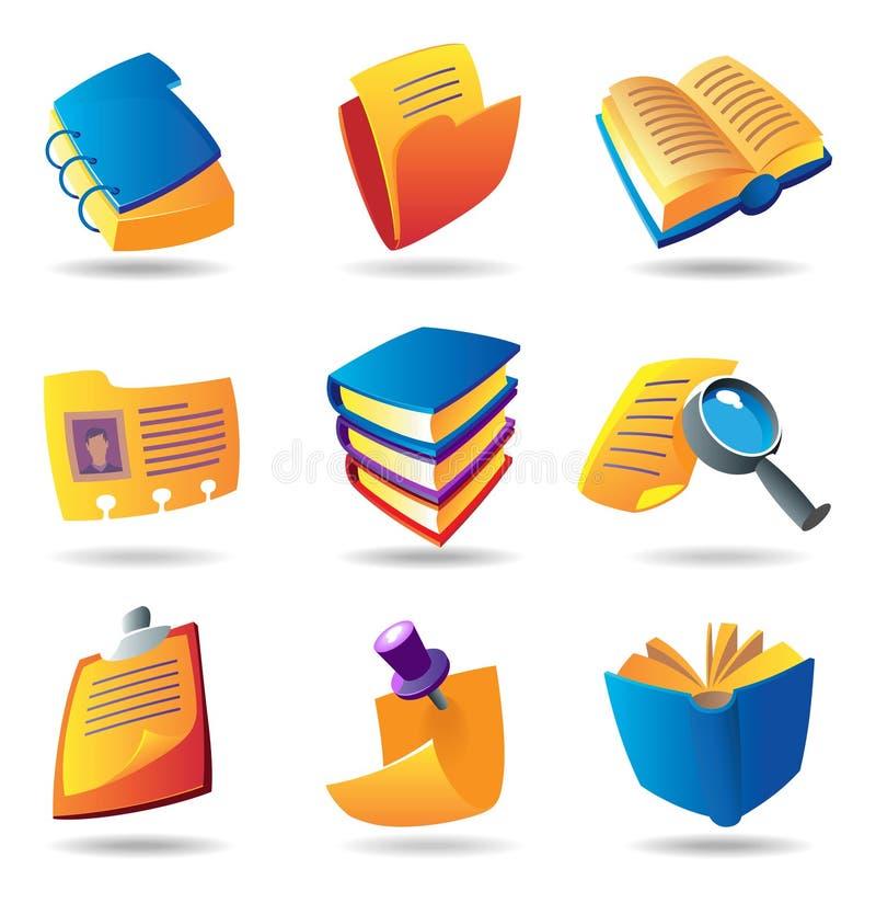 Iconos para los libros y los papeles stock de ilustración