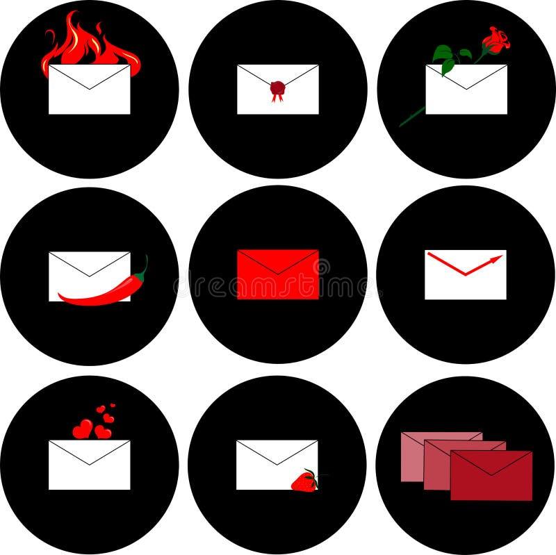 Iconos para los mensajes y correo en un fondo negro imagen de archivo