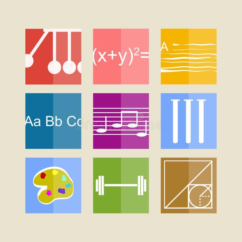 Iconos para los temas de escuela stock de ilustración