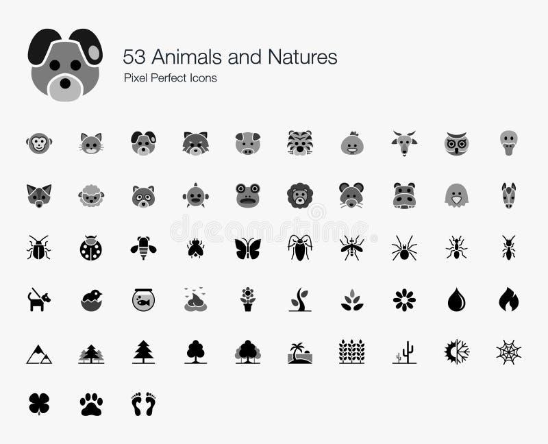 53 iconos perfectos del pixel de los animales y de las naturalezas stock de ilustración