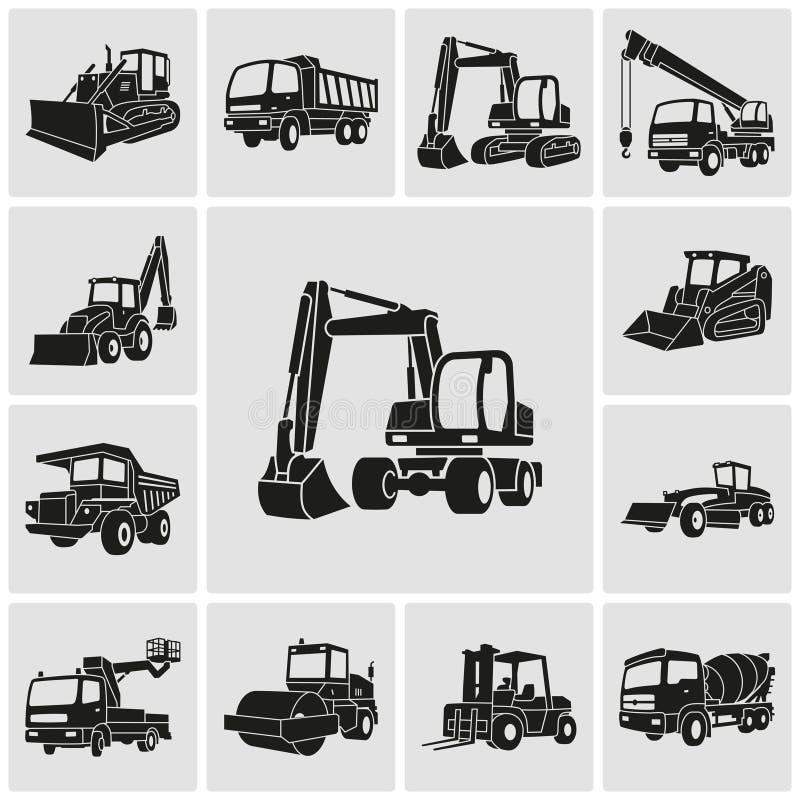 Iconos pesados del equipo y de la maquinaria fijados stock de ilustración