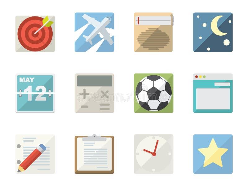 Iconos planos ilustración del vector