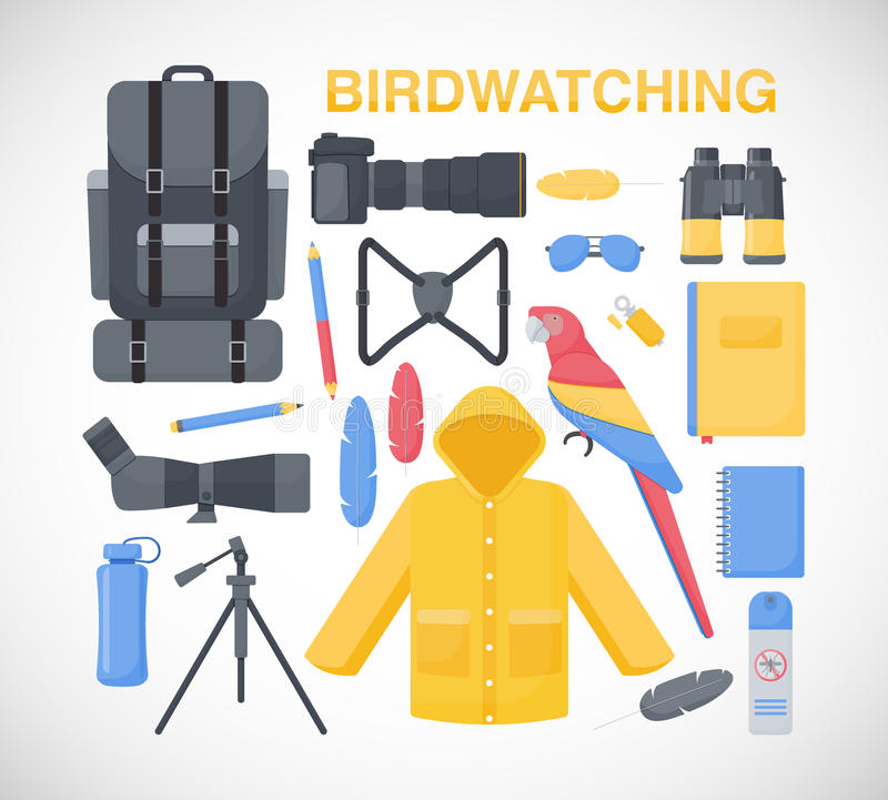 Iconos planos Birdwatching fijados libre illustration