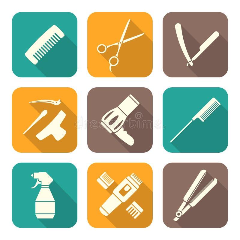 Iconos planos blancos del estilo de las herramientas del peluquero fijados libre illustration