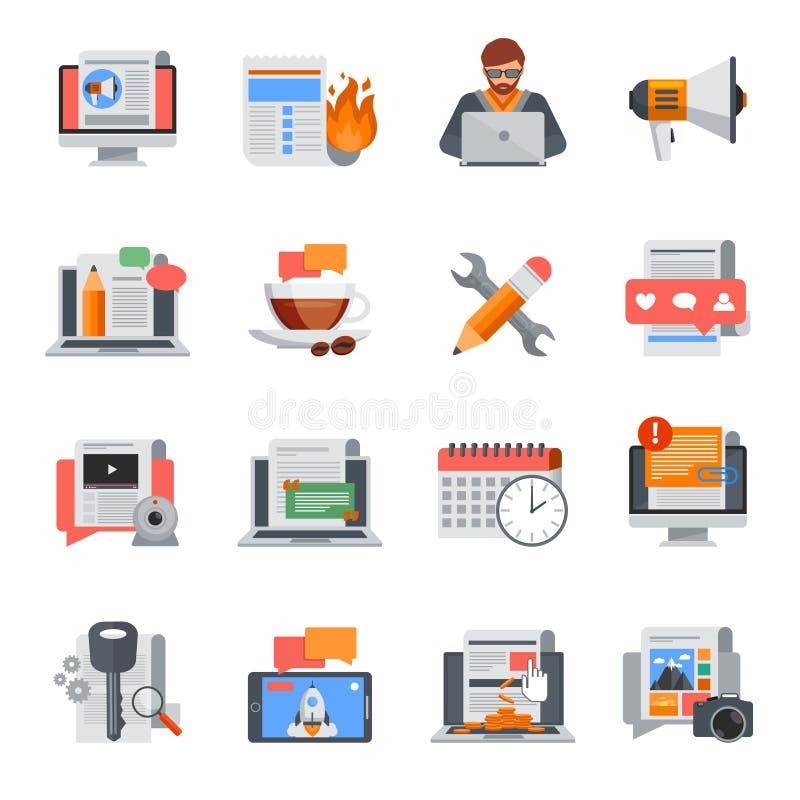 Iconos planos Blogging fijados ilustración del vector