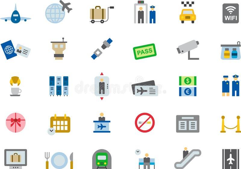 Iconos planos coloreados AEROPUERTO stock de ilustración